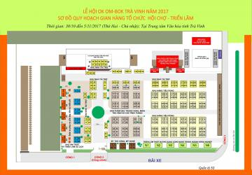 Sơ đồ gian bán hàng tại Lễ hội Ok Om-Bok Trà Vinh 2017